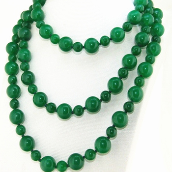 Diy long chain jewelry charm necklace round green jades stone chalcedony 8mm 12mm beads gifts 46inch MY5180