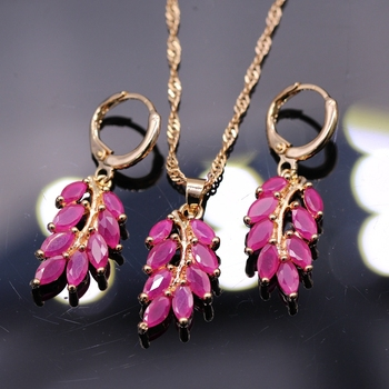 Fashion Women Champagne Gold Color Natural Red Zircon Leaf Pendant Necklace Earrings Jewelry Set Party Gift For Women